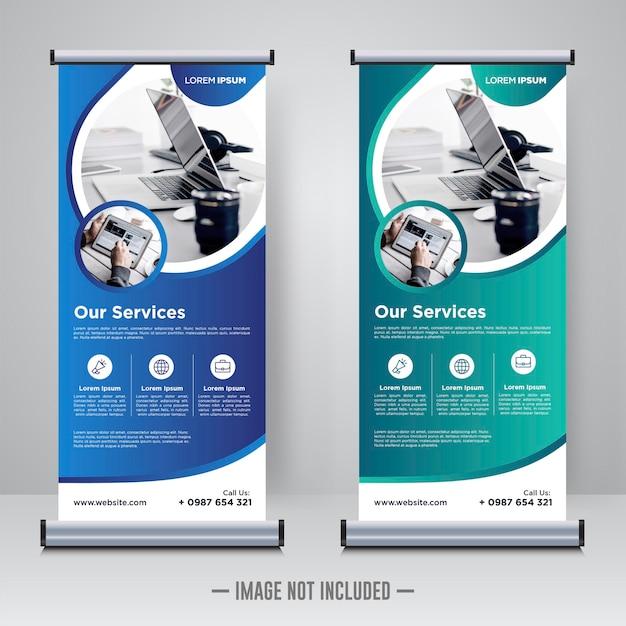 Unternehmens-rollup oder x-banner-vorlage Premium Vektoren