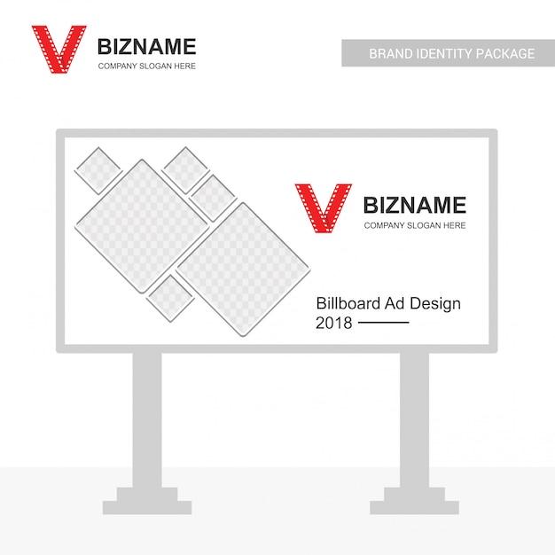 Unternehmensanschlagtafelanzeigen-designvektor mit videologo Kostenlosen Vektoren