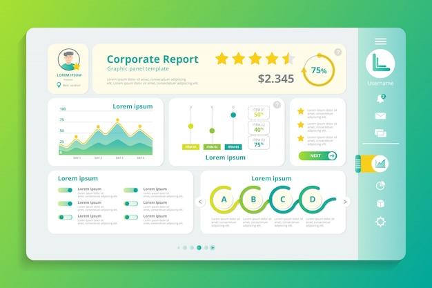Unternehmensbericht infographik panel vorlage Premium Vektoren