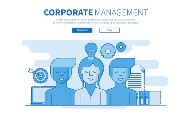Unternehmensführung und entwicklungsteam umreißen banner Premium Vektoren