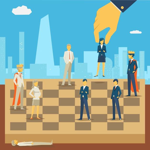Unternehmensgeschäft schachillustration Kostenlosen Vektoren
