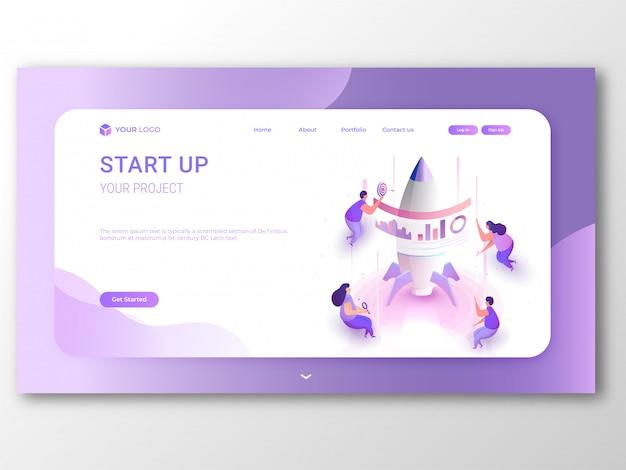 Unternehmensgründung responsive landing page oder banner design. Premium Vektoren