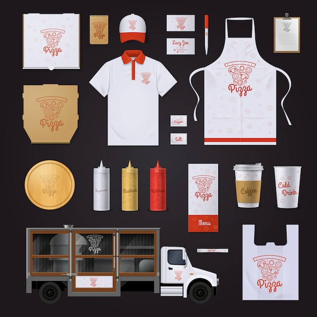 Unternehmensidentitä5sschablone des schnellrestaurants mit roten entwurfsproben der pizzabestandteile auf schwarzem Kostenlosen Vektoren