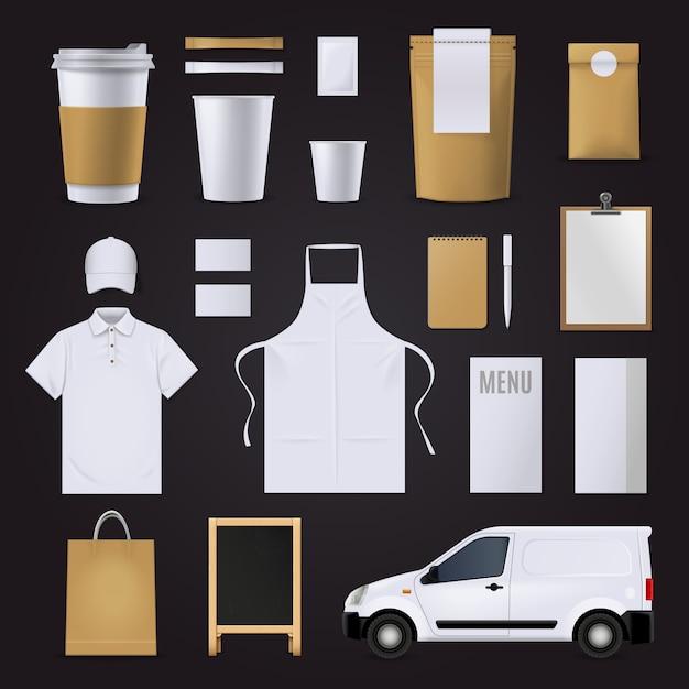 Unternehmensidentität-geschäftsschablone des leeren kaffees stellte in die braunen und weißen farben ein Kostenlosen Vektoren