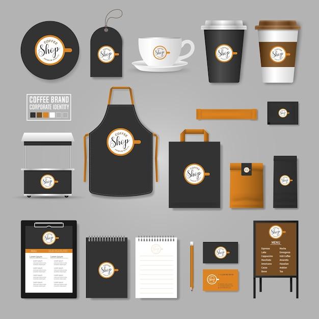 Unternehmensidentität vorlage. logo-konzept für coffee-shop, café, restaurant. Premium Vektoren