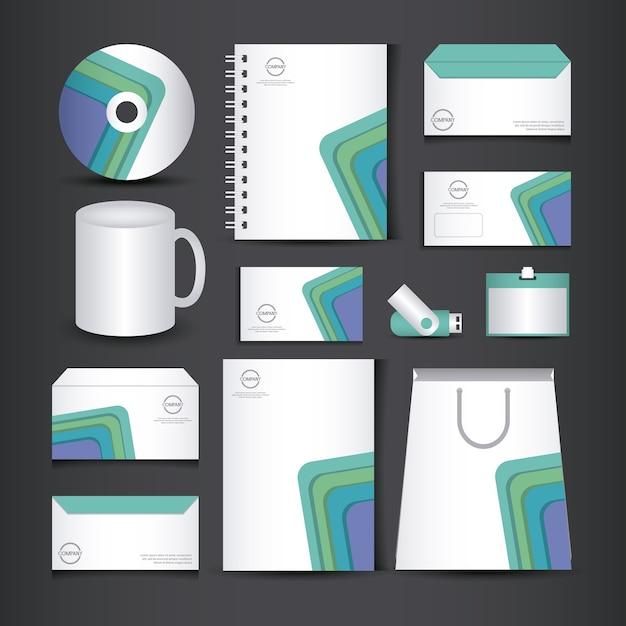 Unternehmensidentitäts-branding-vorlage Premium Vektoren