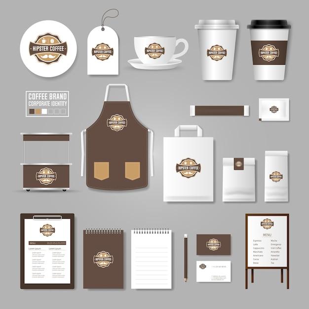 Unternehmensidentität Vorlage. Logo-Konzept für Coffee-Shop, Café ...