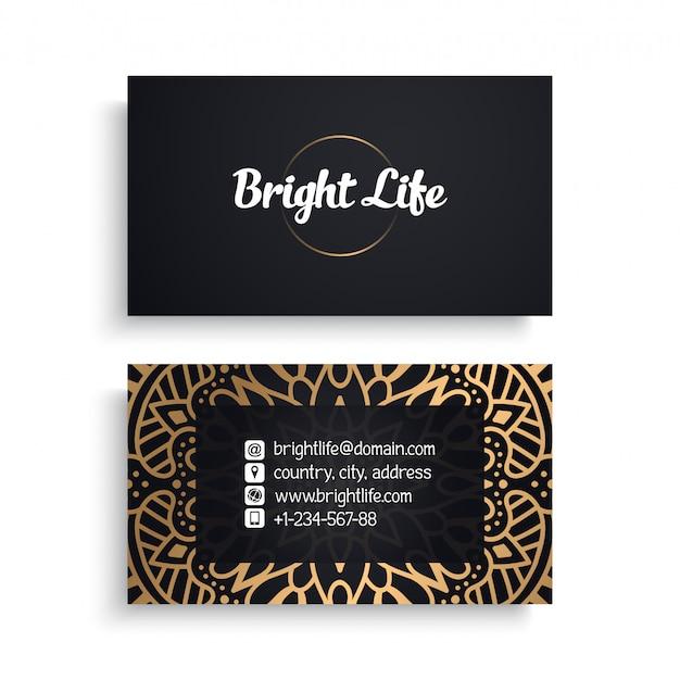 Unternehmensvisitenkarteschablone mit ethnischem luxusdesign, boho-art Kostenlosen Vektoren