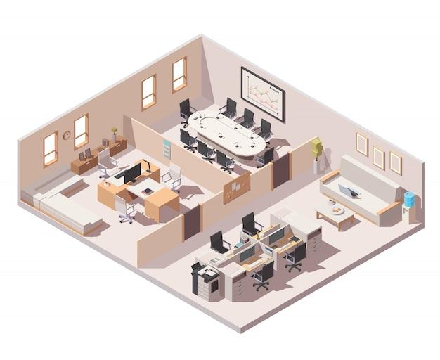 Unternehmenszentrale innenraum symbol Premium Vektoren