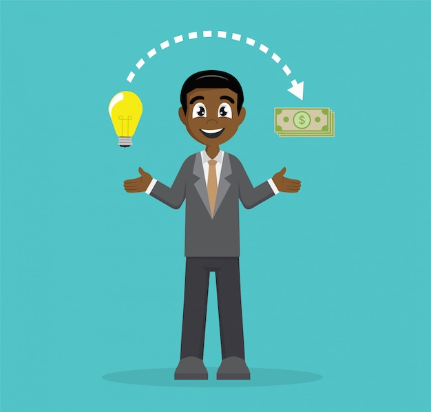 Unternehmer ändern ideen in geld. Premium Vektoren