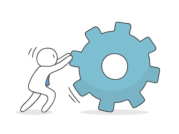 Unternehmer drängen ein zahnrad Kostenlosen Vektoren