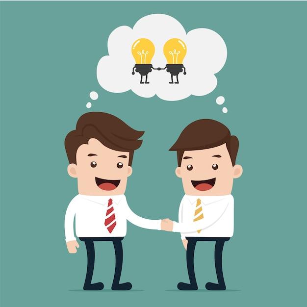 Unternehmeraustausch idee zu idee Premium Vektoren
