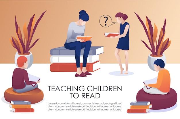 Unterrichten von kindern, werbeflachplakat zu lesen Premium Vektoren