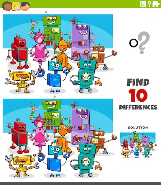 Unterschiede lernspiel mit robotercharakteren Premium Vektoren