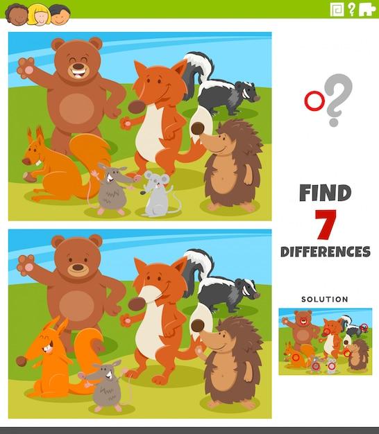 Unterschiede lernspiel mit wilden tieren Premium Vektoren