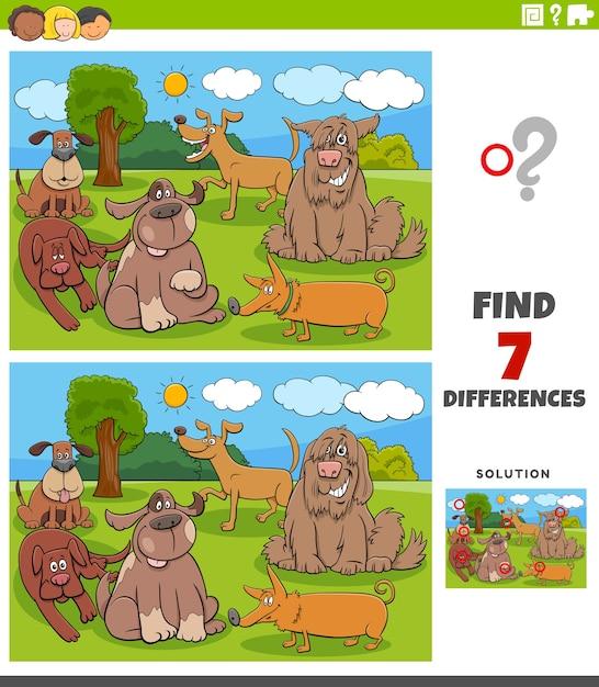 Unterschiede pädagogische aufgabe für kinder mit hunden Premium Vektoren