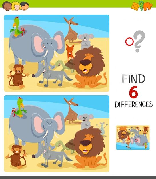 Unterschiede spiel für kinder mit tierfiguren Premium Vektoren