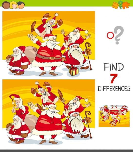 Unterschiede spiel mit der weihnachtsmann-gruppe Premium Vektoren