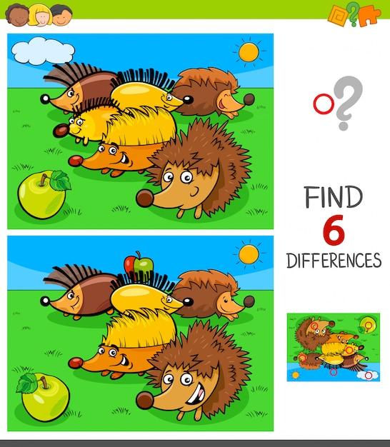 Unterschiede spiel mit igel tierfiguren Premium Vektoren