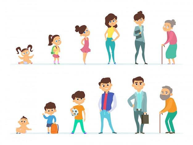 Unterschiedliche charaktere von jugend und alter Premium Vektoren