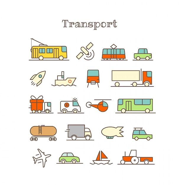 Unterschiedliche dünne linie farbikonen-vektorsatz. transport Premium Vektoren
