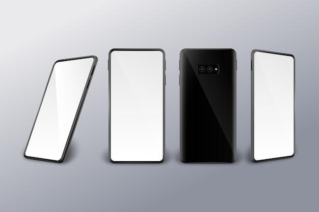 Unterschiedliche realistische perspektive eines smartphones Kostenlosen Vektoren