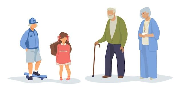 Unterschiedlicher generationssatz Kostenlosen Vektoren