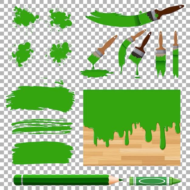 Unterschiedliches design der aquarellmalerei im grün Premium Vektoren