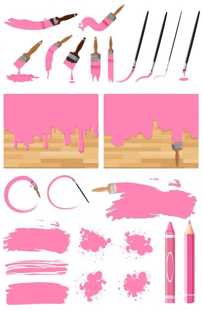 Unterschiedliches design der aquarellmalerei in rosa auf weißem hintergrund Premium Vektoren