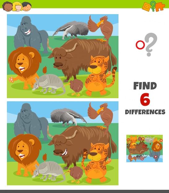 Unterschiedspiel mit charaktergruppe des wilden tieres Premium Vektoren