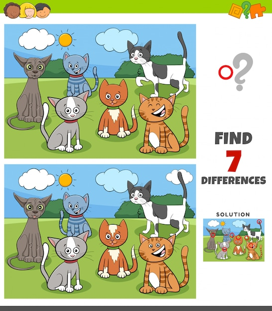 Unterschiedspiel mit comic-katzengruppe Premium Vektoren