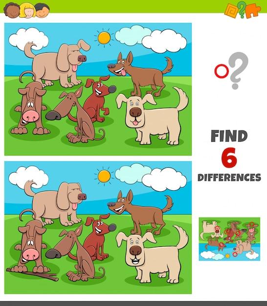 Unterschiedspiel mit glücklichen hundetiercharakteren Premium Vektoren