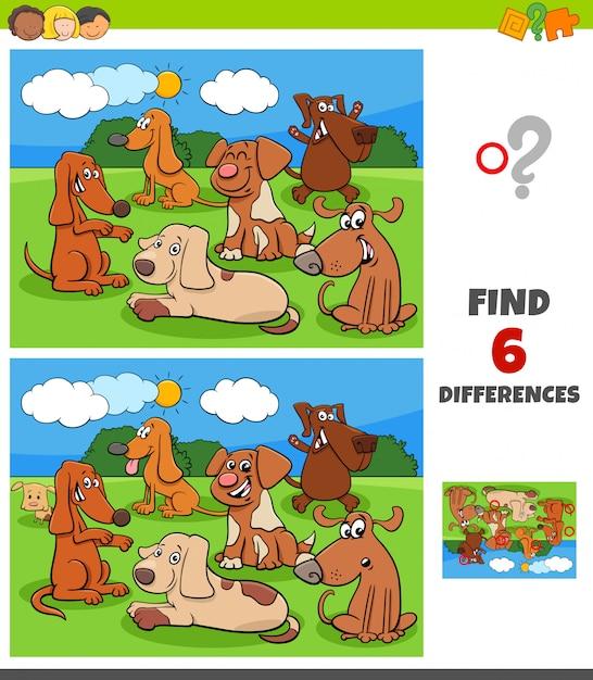 Unterschiedspiel mit hunde- und welpencharakteren Premium Vektoren