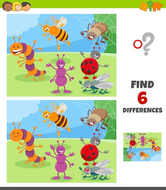 Unterschiedspiel mit insektentiercharaktergruppe Premium Vektoren