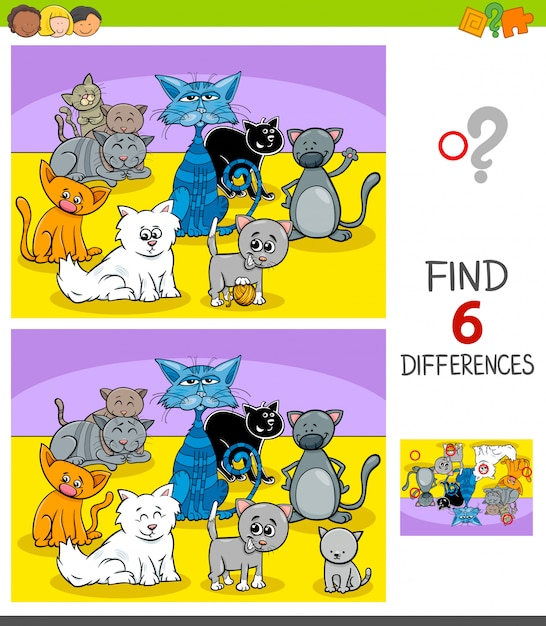 Unterschiedspiel mit katzentiercharakteren Premium Vektoren