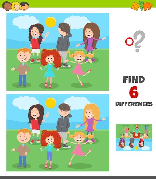 Unterschiedspiel mit kinder- und jugendcharaktergruppe Premium Vektoren