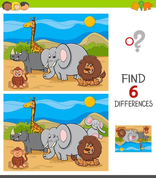 Unterschiedspiel mit safari-tiercharakteren Premium Vektoren