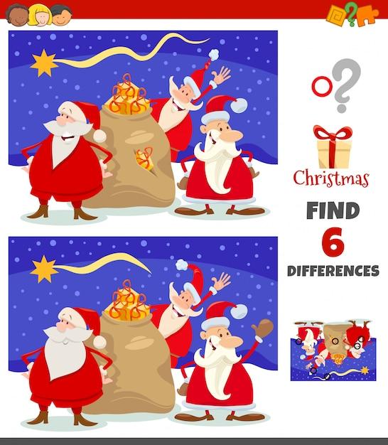 Unterschiedspiel mit santa claus christmas-charaktergruppe Premium Vektoren