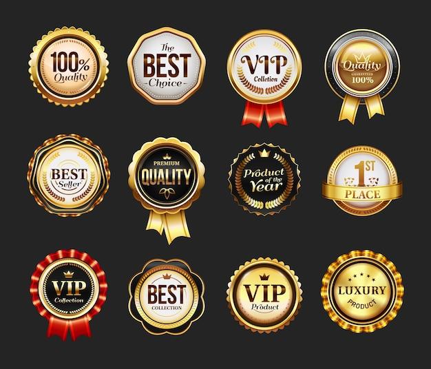 Unterschreiben sie für markenprodukt oder vip-symbol mit band. runder stempel für beste gesellschaft. abzeichen für werbung, logo für qualitätssicherung. einzelhandels- und handelsabzeichen, siegel für zertifikat, retro-geschäftslogo Premium Vektoren