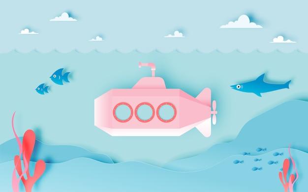 Unterseeboot unterseeisch mit vielen fischen in der pastellentwurfs- und papierkunstart vector illustration Premium Vektoren
