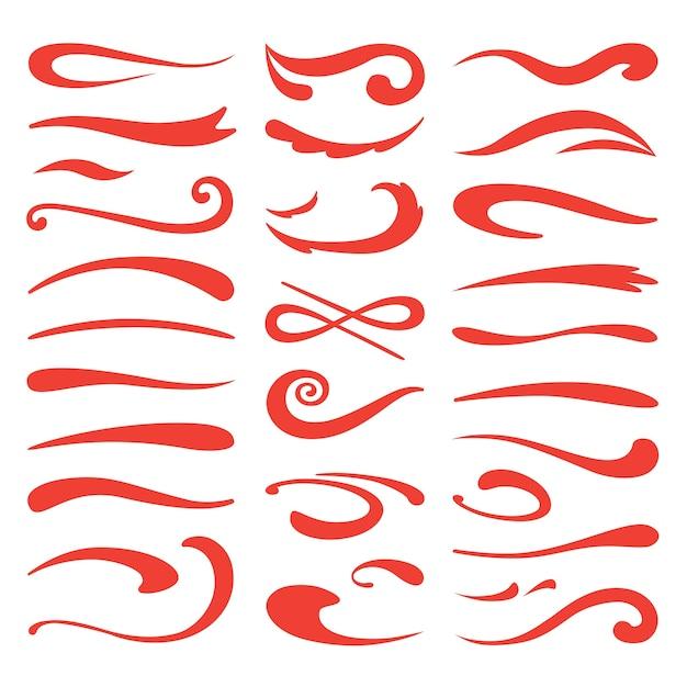 Unterstreichen sie swooshes. swish brush betonung, handgezeichneter markierungsstrich, doodle swash highlight Premium Vektoren