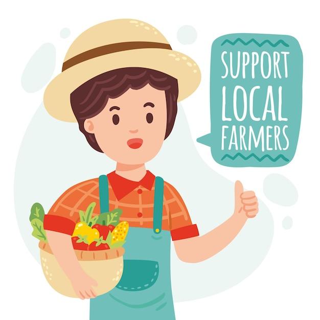 Unterstützung des lokalen bauernkonzepts Kostenlosen Vektoren