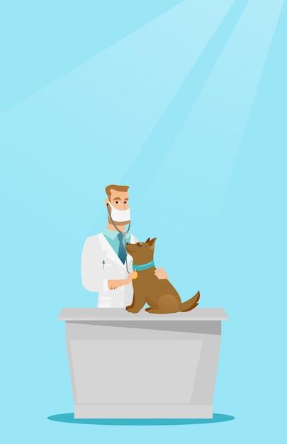 Untersuchungshundevektorillustration des tierarztes. Premium Vektoren