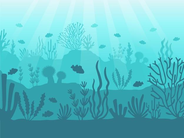 Unterwasser-seelandschaft. ozeankorallenriff, tiefseeboden und schwimmen unter wasser. marine korallen abbildung Premium Vektoren