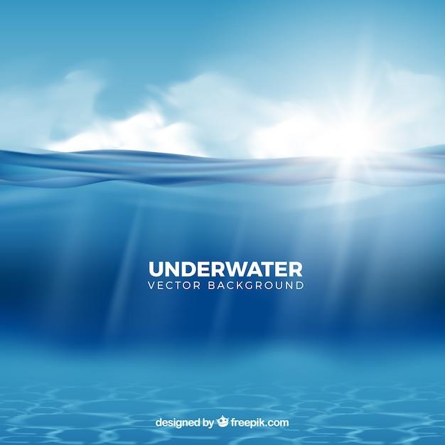 Unterwasserhintergrund in der realistischen art Kostenlosen Vektoren