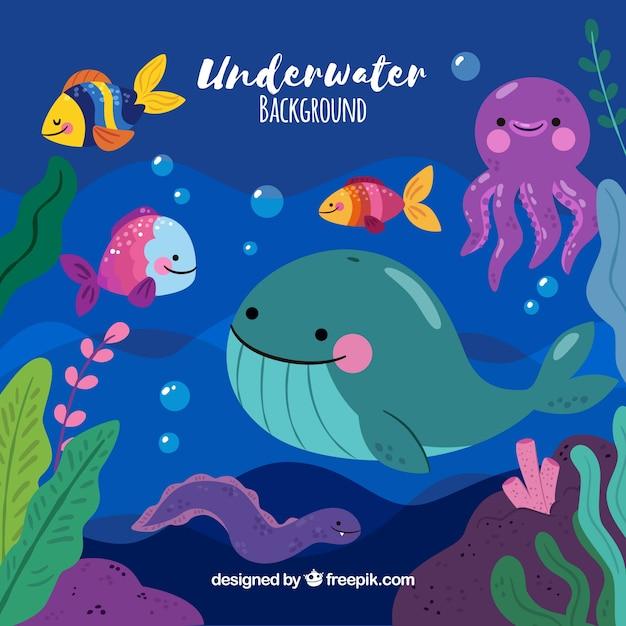Unterwasserhintergrund mit meerestieren Kostenlosen Vektoren