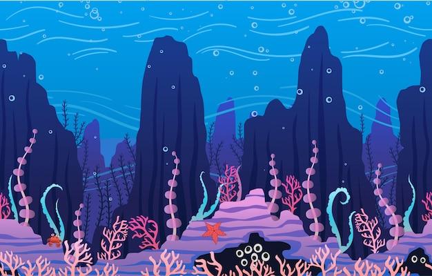 Unterwasserhintergrund mit pflanzen Premium Vektoren