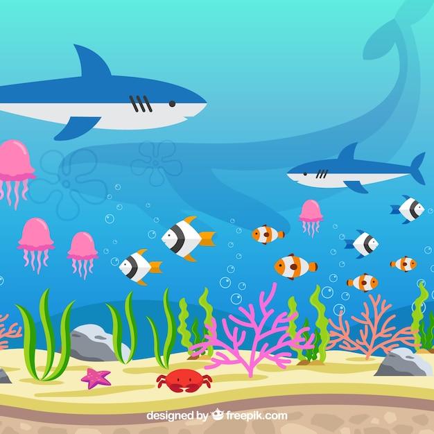 Unterwasserhintergrund mit verschiedenen meeresarten Kostenlosen Vektoren