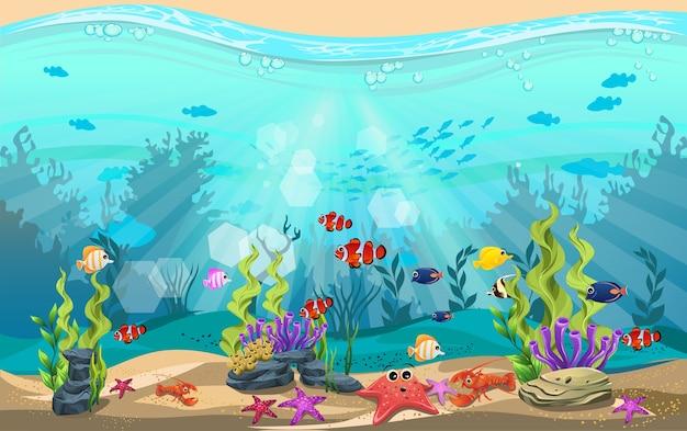 Unterwasserleben und vielfältige lebensräume. algen, seesterne, fische, hummer und korallenriffe Premium Vektoren