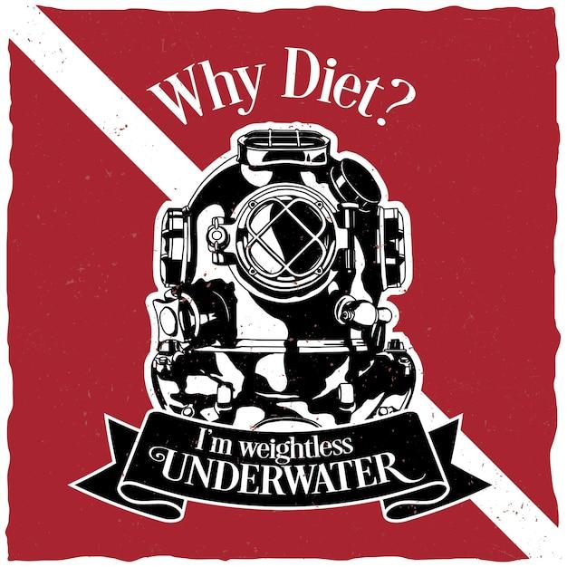 Unterwassermotivation etikett design poster mit der frage, warum diät Kostenlosen Vektoren